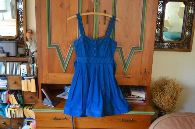sweetheart neckline denim sundress with altered hemline