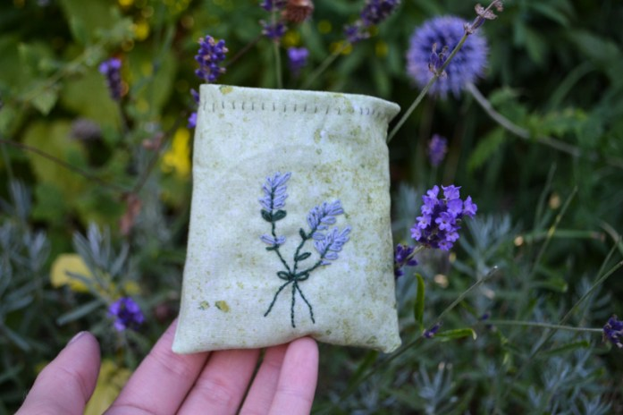 embroidered lavender scent pouch