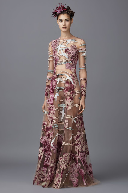 Valentino (Pre-Fall 2016) heron cherry tree dress
