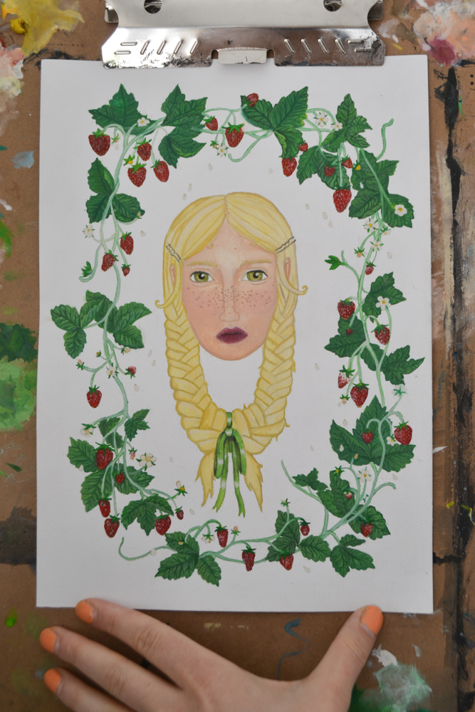 painting of blonde amongst strawberry plants