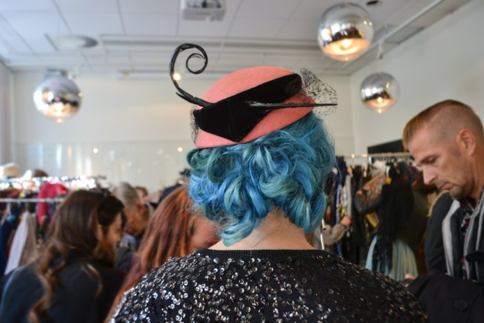 blue hair awesome vintage hat