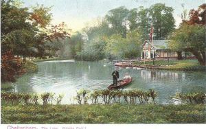 Pittville Park, boating, lake and boathouse, 1900s in colour