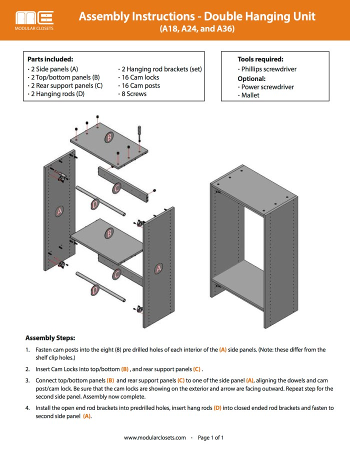 closet unit instructions