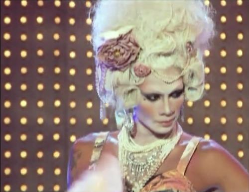 ... Raja strutted the runway in a Vivienne Westwood / Marie Antoinette