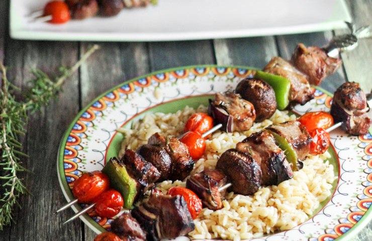 Rosemary Pork Kabobs for Man Food Mondays
