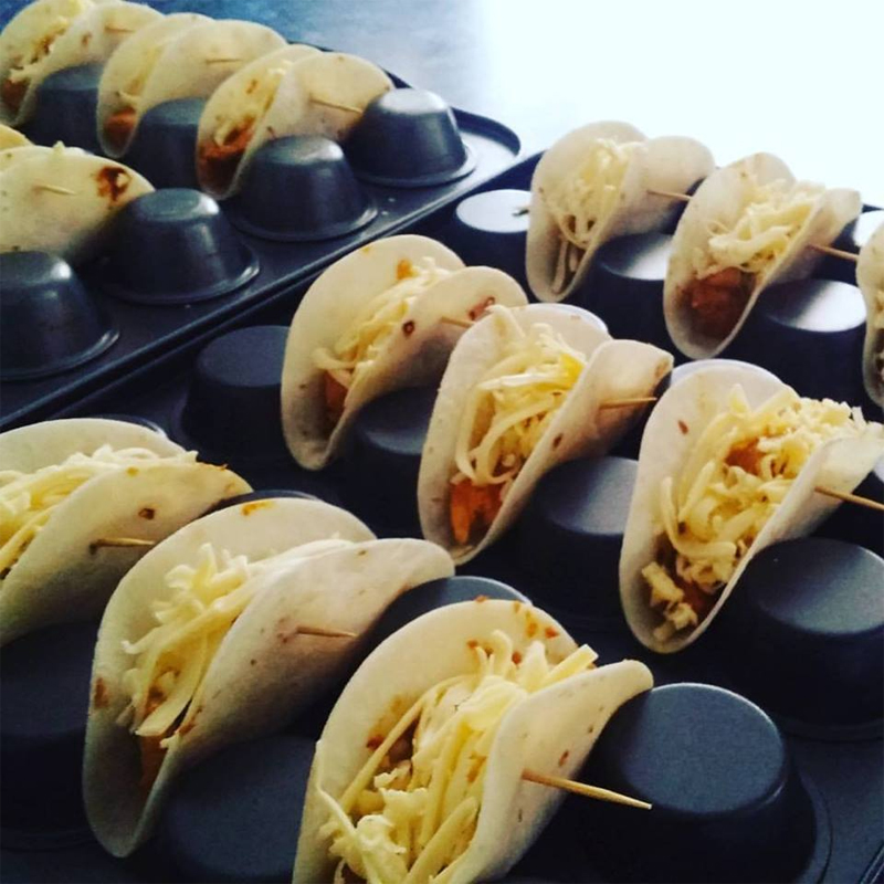 Canap s mini tacos for Canape cup fillings