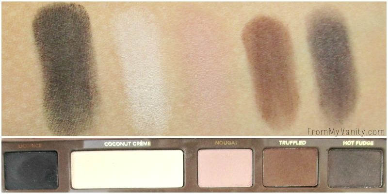 Swatches of the first row of the Semi Sweet palette