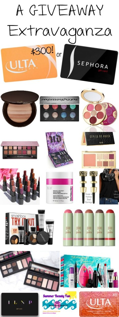 A giveaway extravaganza! 17 different prizes AND a grand prize of a $300 shopping spree to either Ulta or Sephora! Click to enter!