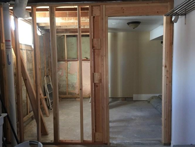 Bathroom walls framed and new doorway 2