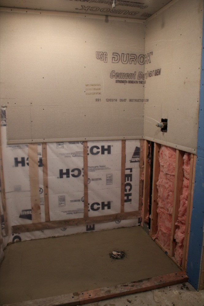 Durock cement board shower walls