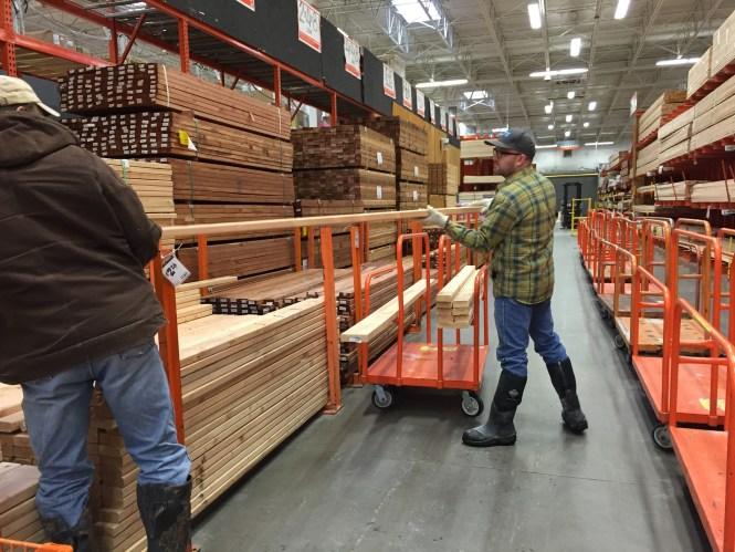 Jesse, Kerry picking out framing lumber