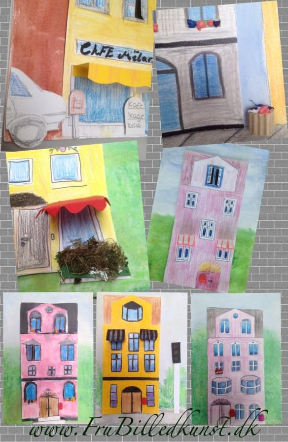 Arkitektur collage i billedkunst - www.FruBilledkunst.dk
