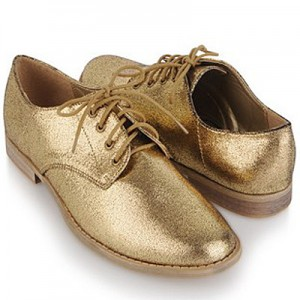 Metallic Lame Oxfords - Forever 21