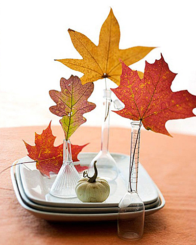 Fallen leaves in mini vases-BHG