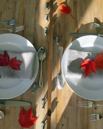 Maple Leaves on Napkins