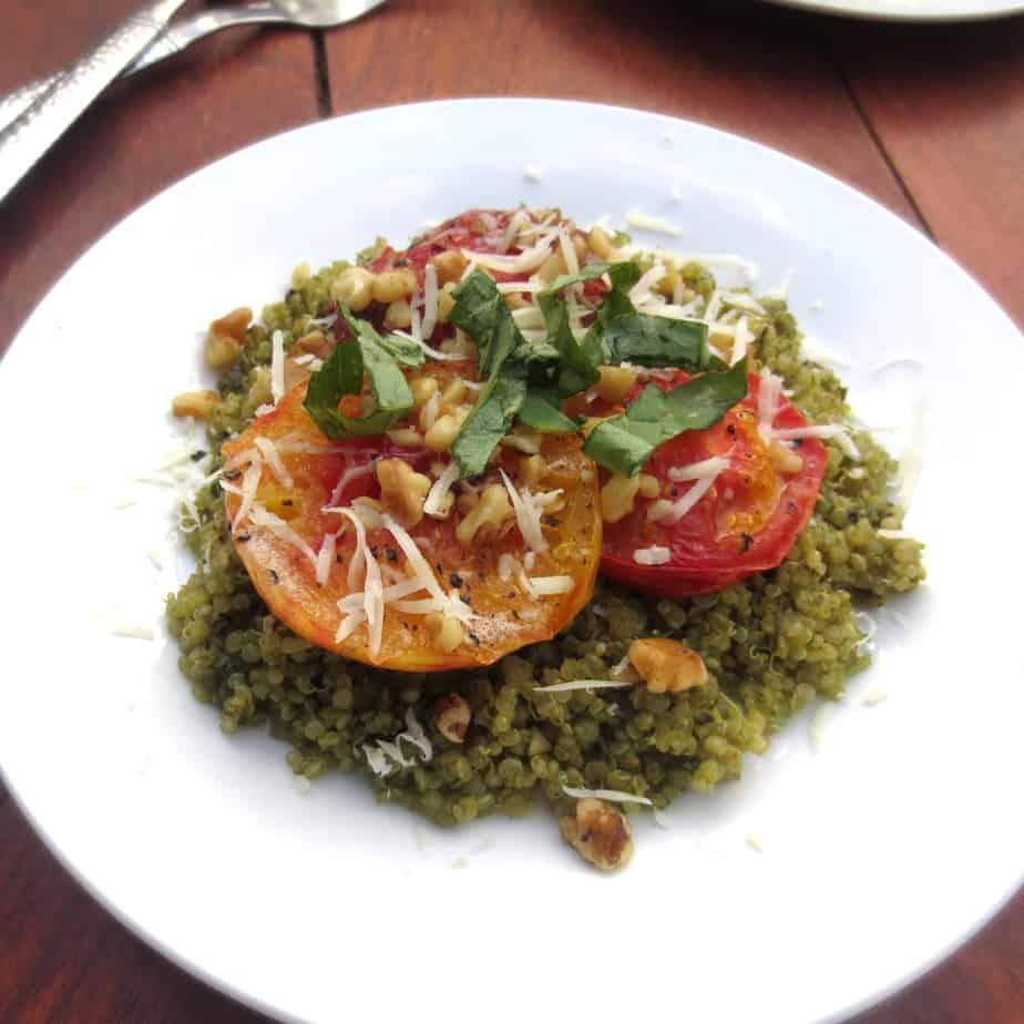 Pesto Quinoa with Sweet Roasted Tomatoes