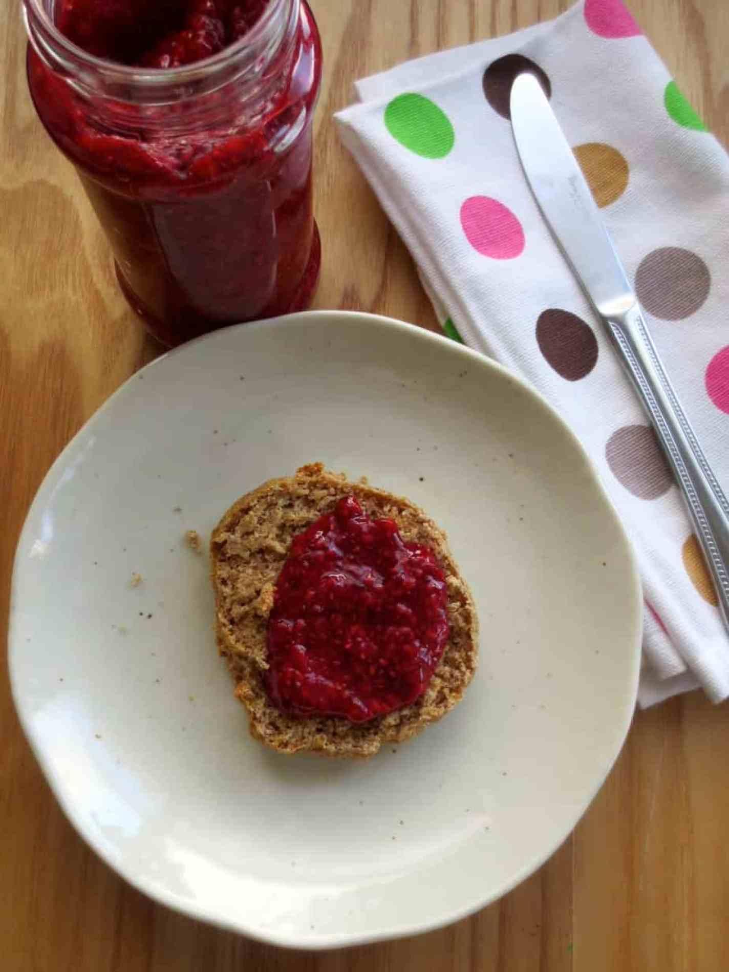 Easy Raspberry Chia Jam with Yogurt Biscuits