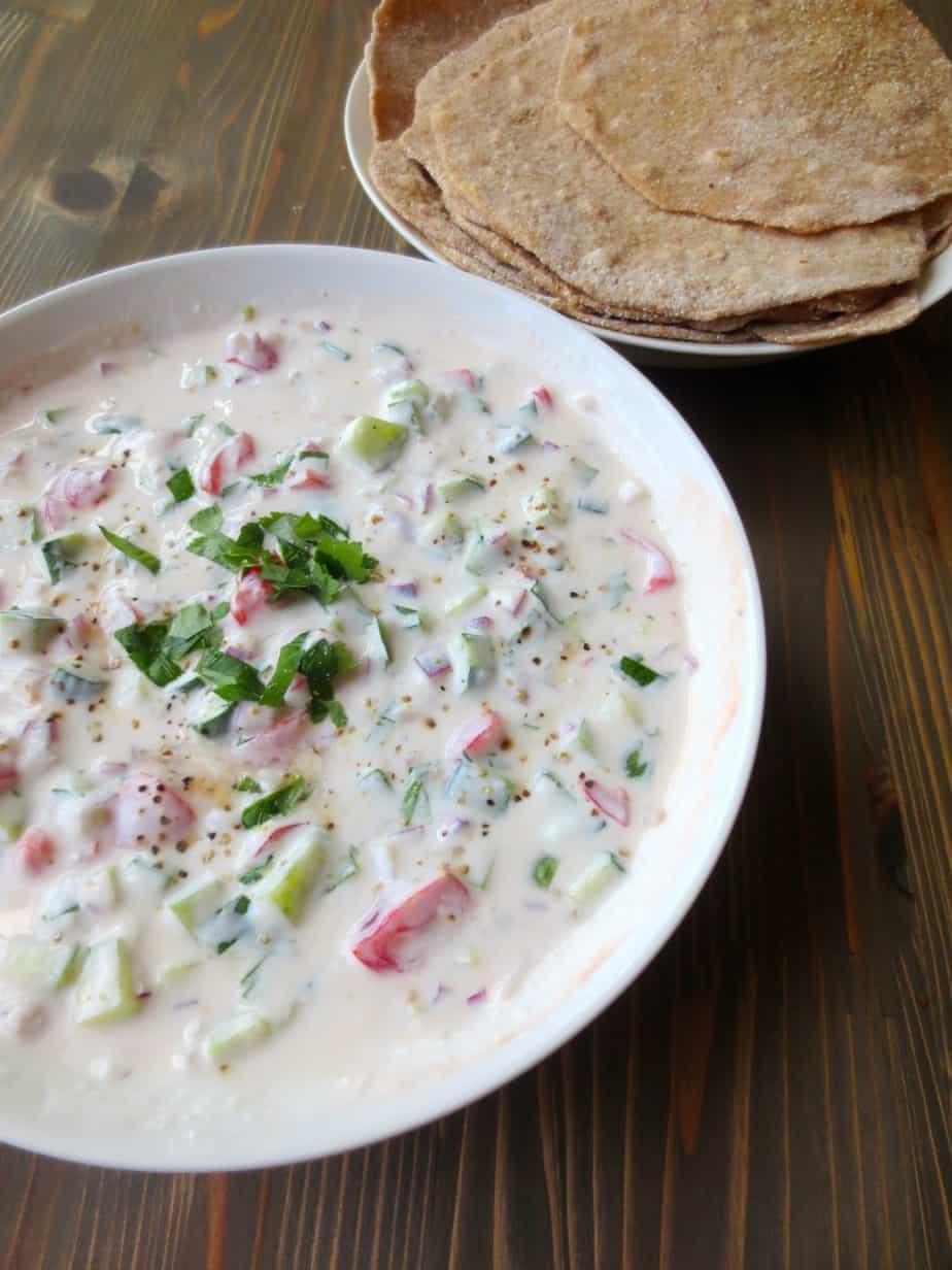 Easy Whole Wheat Roti with Indian Raita Yogurt Sauce