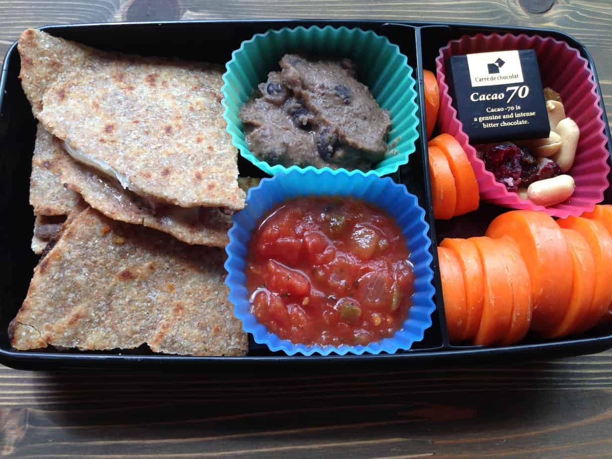 Cheddar Quesadilla with Best Bean Dip, Salsa, Carrots, Trail Mix, and Dark Chocolate