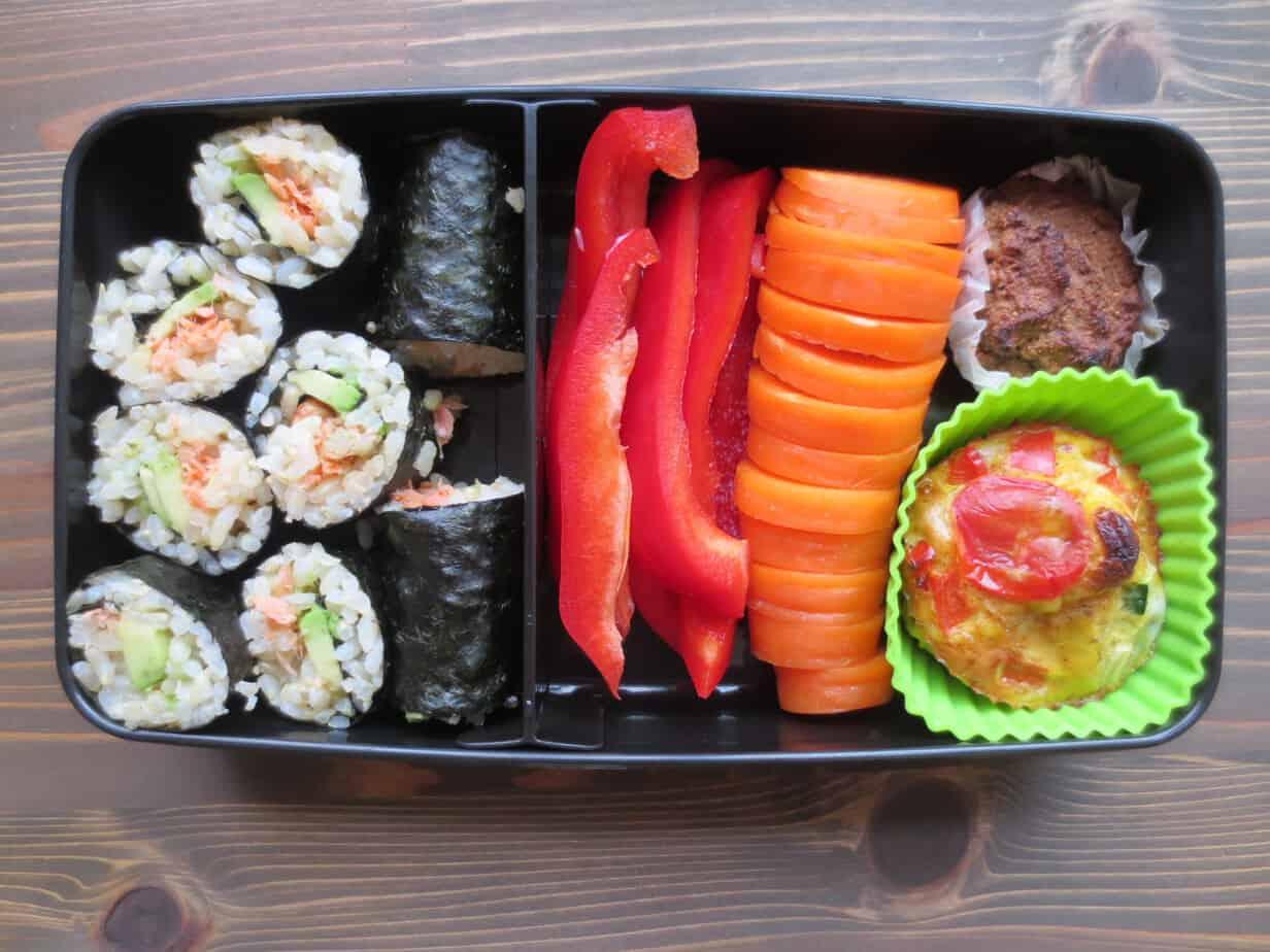 Salmon Avocado Onigiri Rolls Lunch With Paleo Egg Muffins, Carrot-Banana Muffins