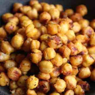 Salty & Spicy Roasted Chickpeas   Frugal Nutrition
