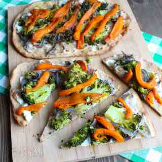Roasted Vegetable Naan Pizza with Ricotta   Frugal Nutrition #pizza #naan #veggies