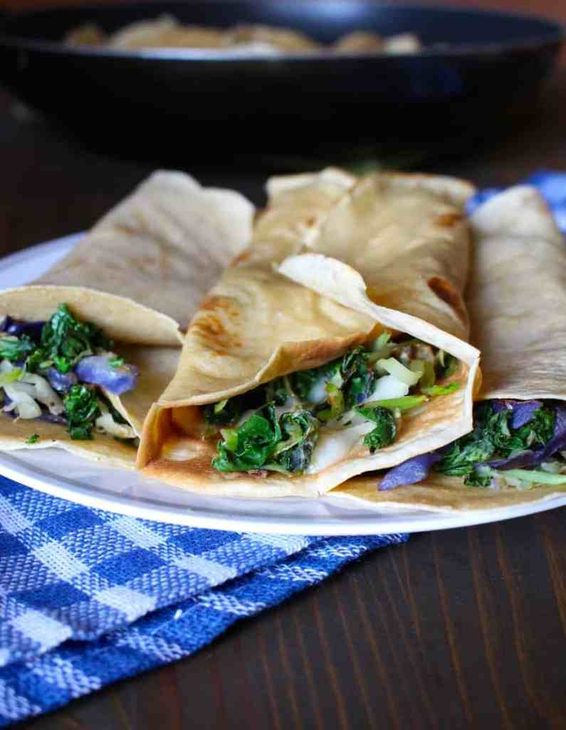 Whole Wheat Crepes with Kale and Cheddar | Frugal Nutrition #traderjoes #weeknight