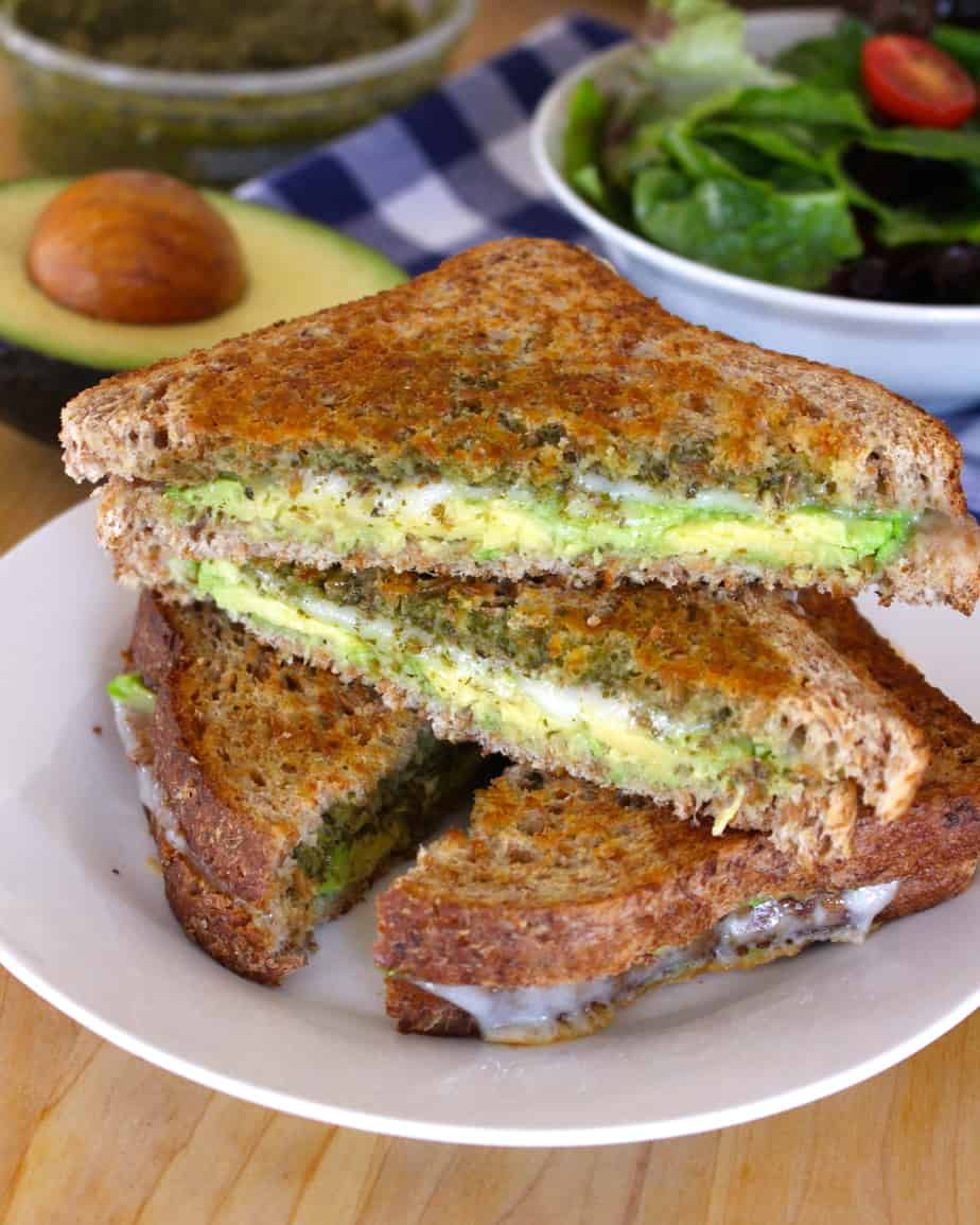 Avocado, Pesto, & Provolone Grilled Cheese   Frugal Nutrition #grilledcheese #easyweeknightdinner #lunch
