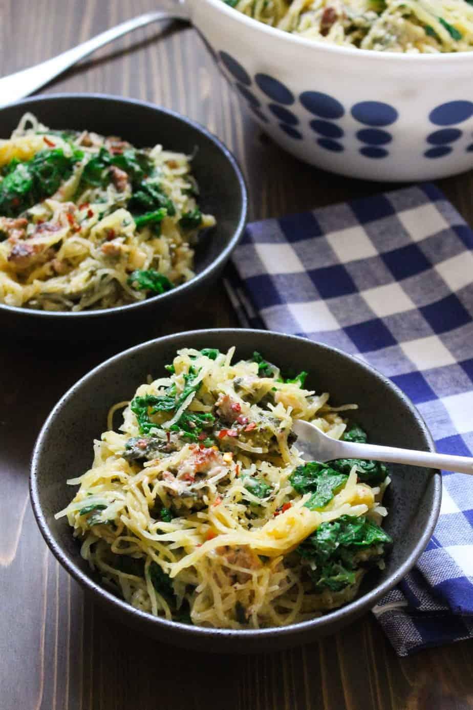 Creamy Spaghetti Squash Dinner   Frugalnutrition.com