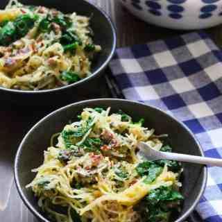 Creamy Spaghetti Squash Dinner | Frugalnutrition.com