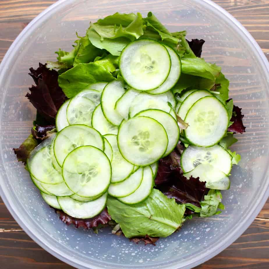 Cucumber Slices and Salad Greens - just add awesome Sesame Dressing | Frugal Nutrition