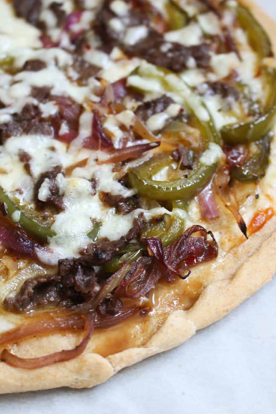 Homemade Philly Cheesesteak Pizza | FrugalNutrition.com