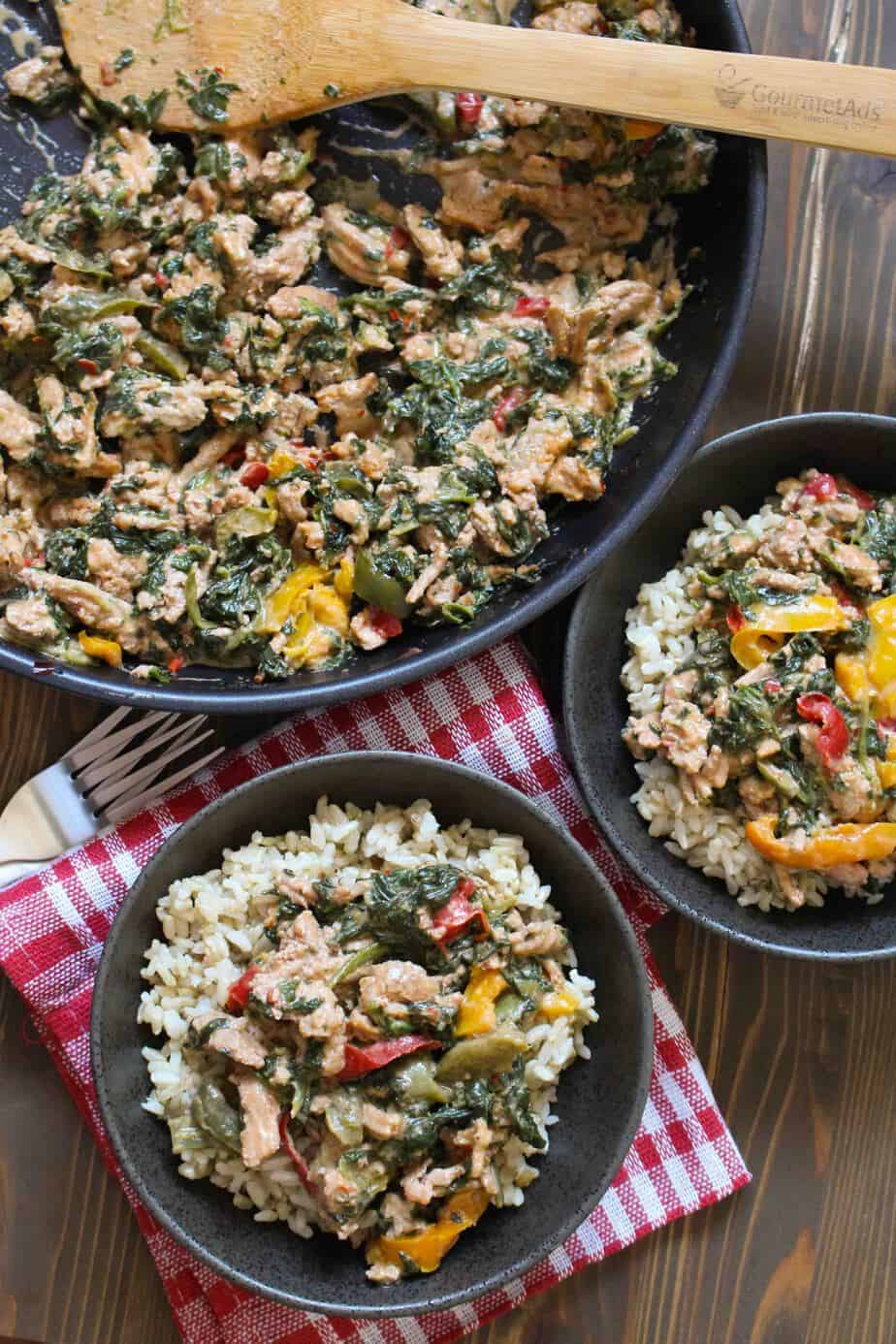 One-Pan Coconut Ground Turkey with Peppers and Spinach | FrugalNutrition.com #weeknightdinner