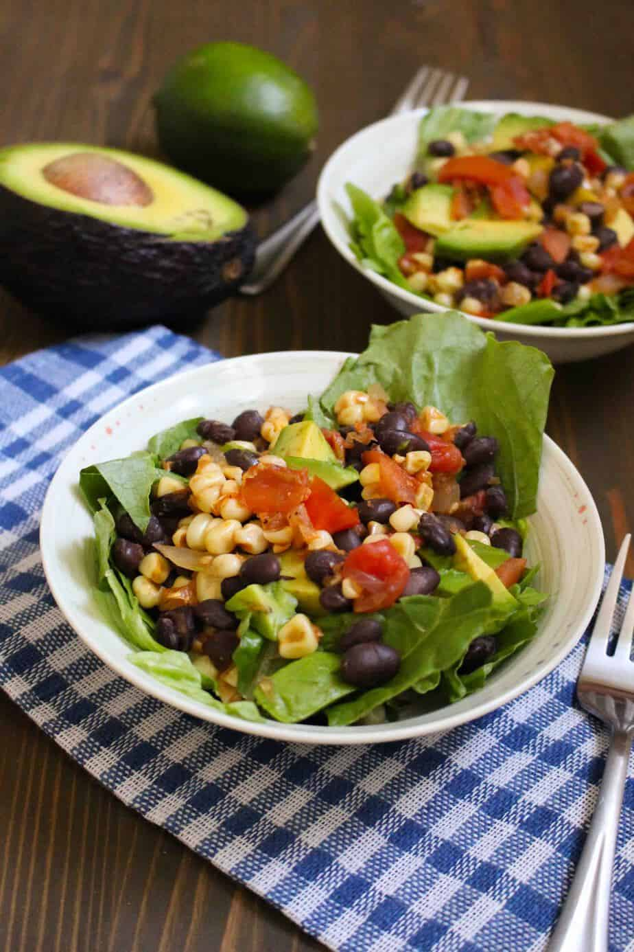 Super Easy Pan Roasted Corn and Tomato Salad with Avocado | Frugal Nutrition