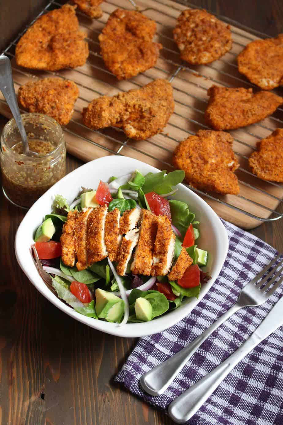 Baked Almond Chicken Salad with Horseradish Dressing | Frugal Nutrition