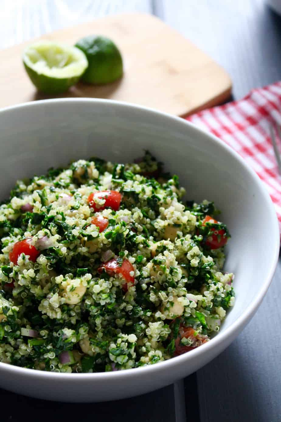 Vegan Cilantro Lime Quinoa Spinach Salad with Chickpeas | Frugal Nutrition