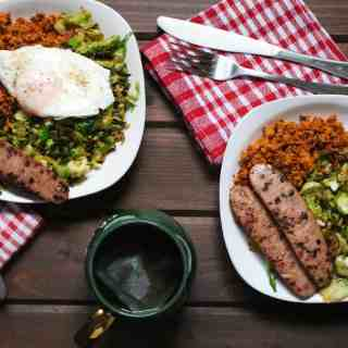 Brussels Sprouts Hash with Sweet Potatoes and Aidell's Sausage | Frugal Nutrition