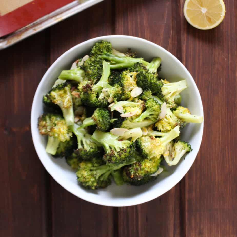 Easy Roasted Broccoli with Lemon and Almonds | Frugal Nutrition
