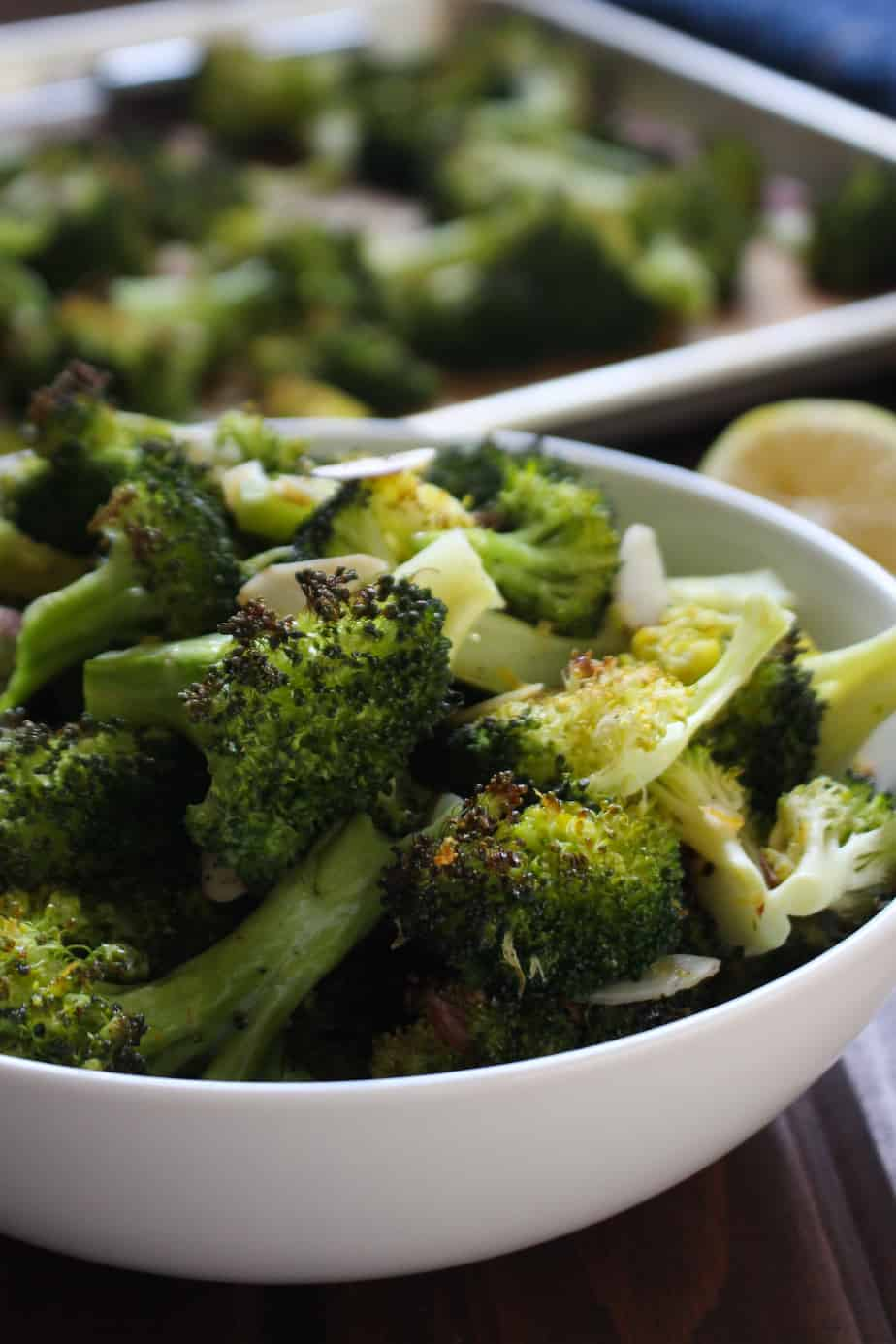 Lemon Roasted Broccoli with Almonds | Frugal Nutrition