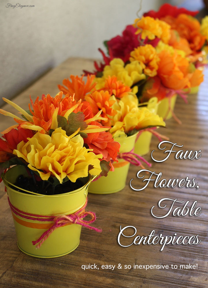 Flower party centerpieces using faux flowers frugelegance