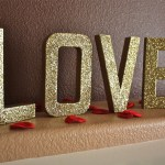 Gold Glittered LOVE Letters