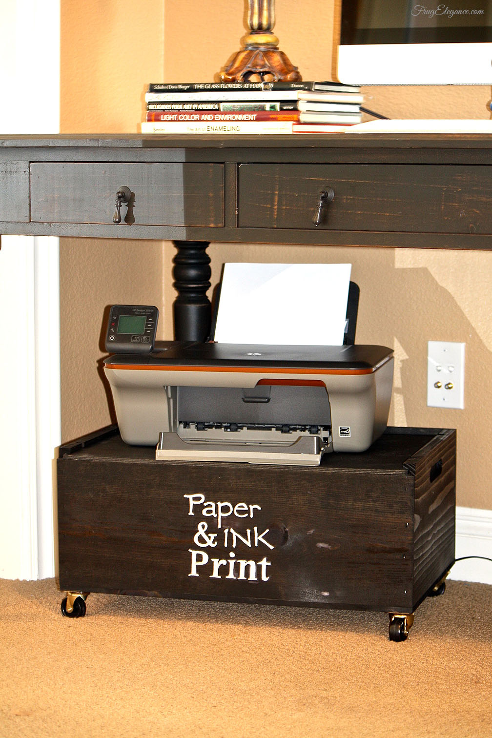 Wooden Printer Tables ~ Wine crate home office printer stand storage frugelegance
