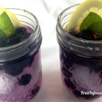 Lemon water with Blueberries and mint