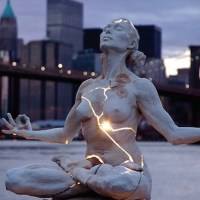 Cracked Light Woman Sculpture