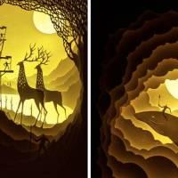 Elegant Light Box Paper Cut Dioramas