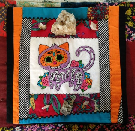 Day of the Dead Cat Pillow Cover by Karen Heenan