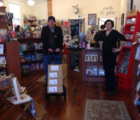 Jon doing the heavy work at Battenkill Books while Connie supervises