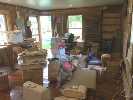 My studio after I brought all the furniture and boxes and bags back into it from the house.