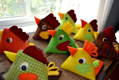 Jane McMillan's Chicken Pincushions.