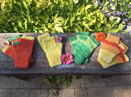 Some of Suzy's handspun and hand knit fingerless Gloves